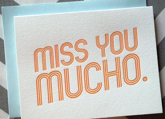 Miss You Mucho Letterpress Card, $5