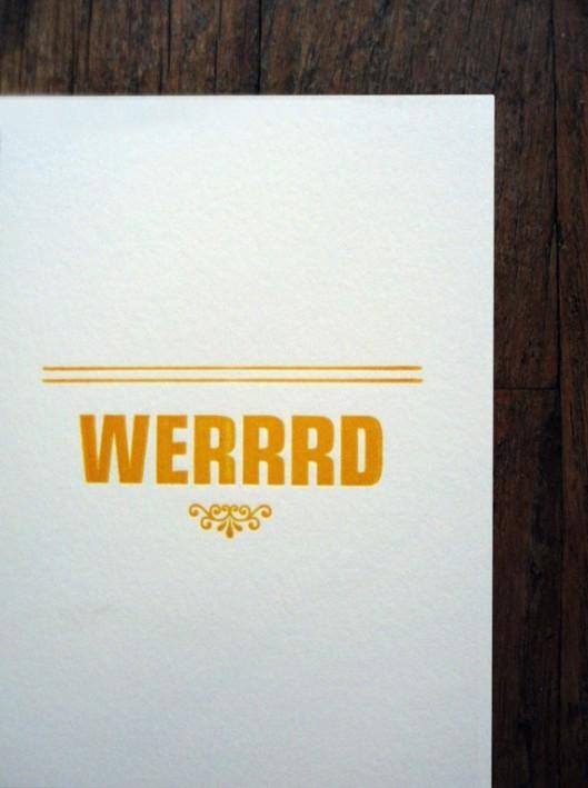 Werrrd Letterpress Card, $5