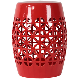 Urban Trends - Red Open Work Garden Stool, $170