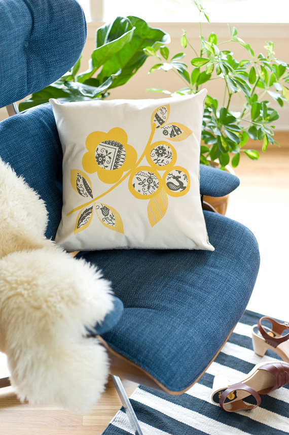 Scandinavian Flowers Cotton Canvas Pillow, $ 64