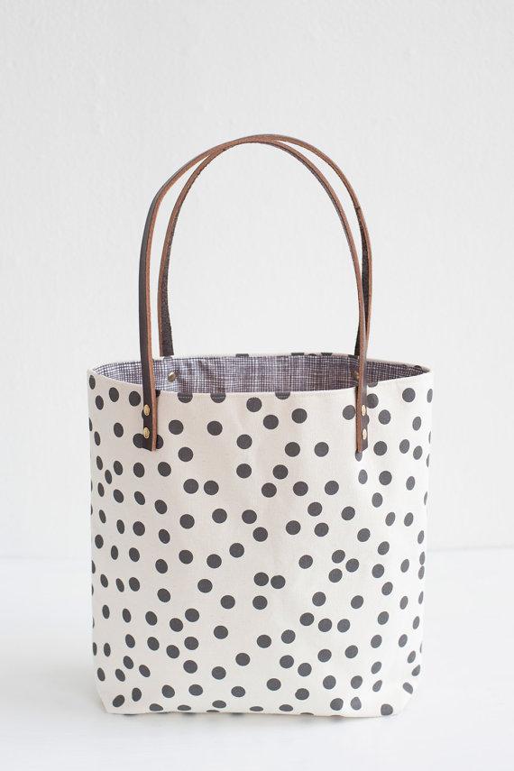 Charcoal Dots Tote Bag, $87