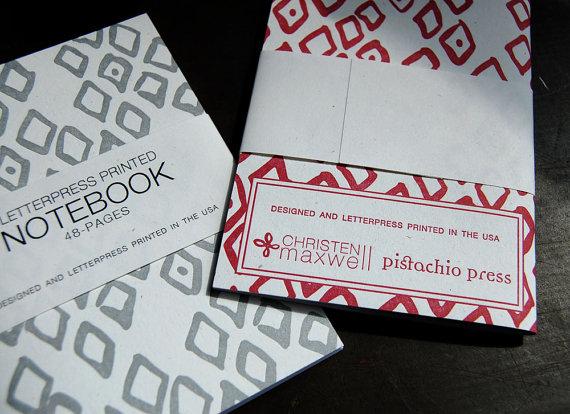 Pistachio Press - Zorah Patterned Letterpress Notebook, $7