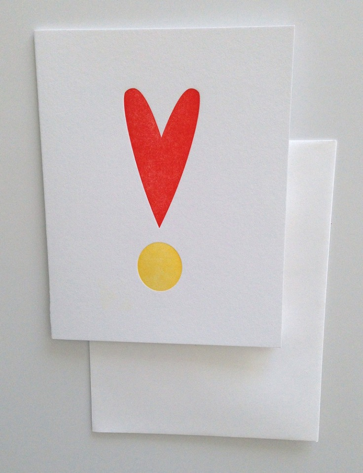Heart Exclamation Greeting Card, $5