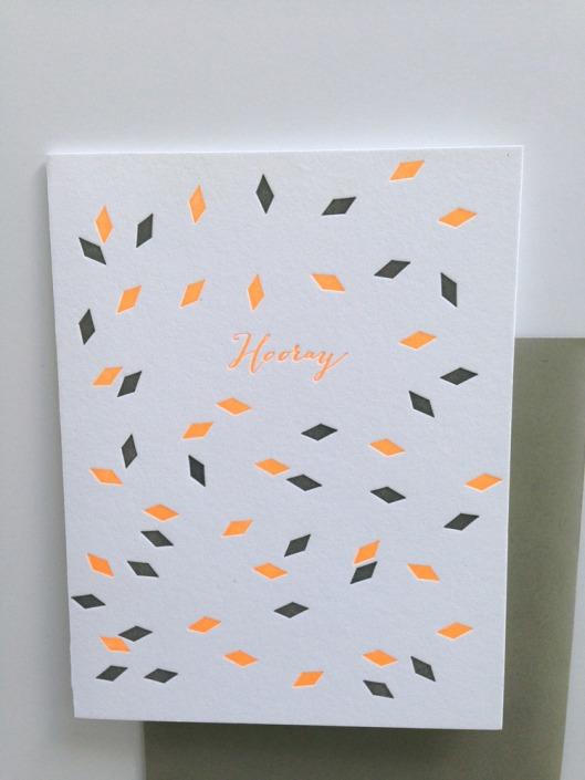 Neaon Hooray Greeting Card, $5