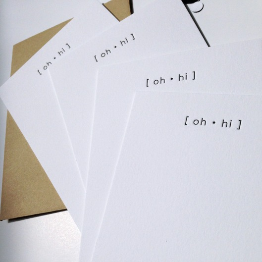 Oh Hi Notecards set of 4, $12