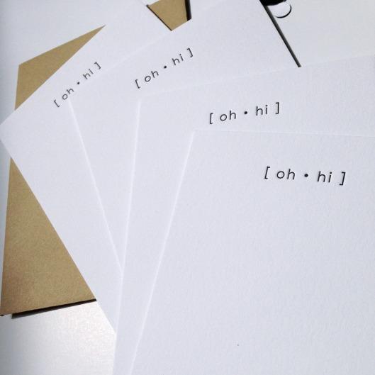 Oh Hi Notecards set of 4, $12