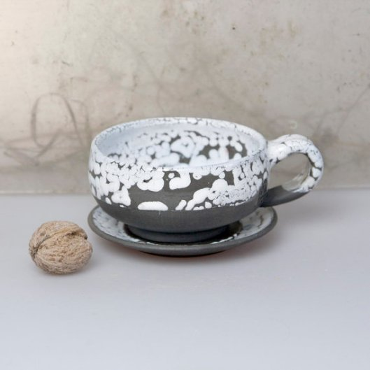 Ceramic Soul - Black and White Tea Cup, $40