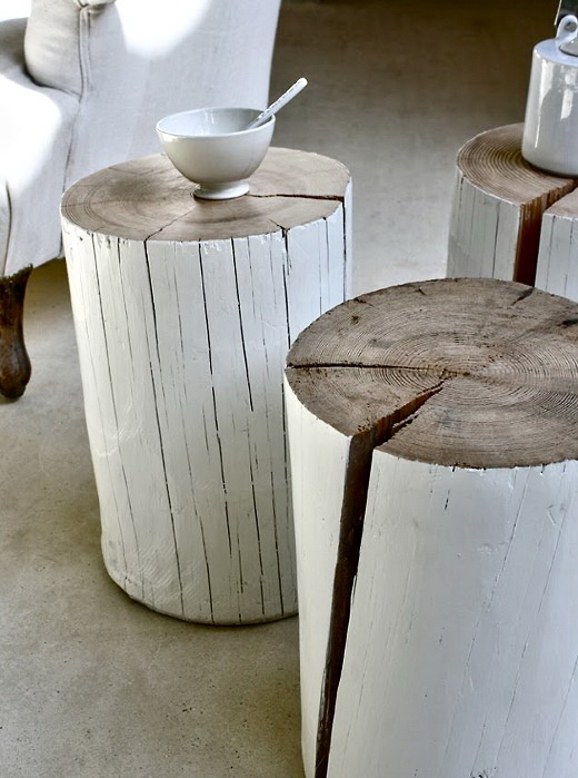 DIY Painted Log End Tables