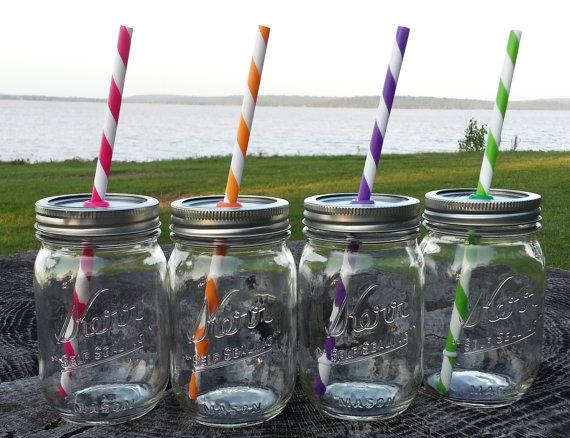 Mrs Chic Botique - Mason Jar Tumbler (with straw), $8.99