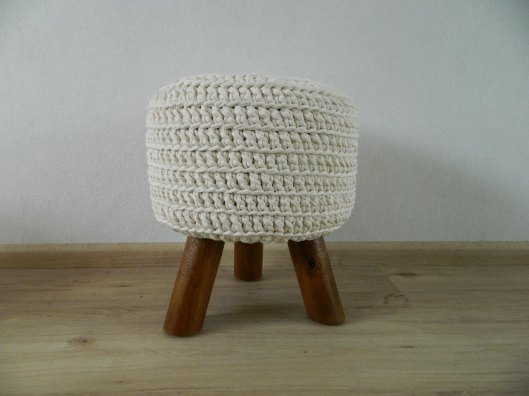 Made by Ans - Off White Knitted Pouf, $103