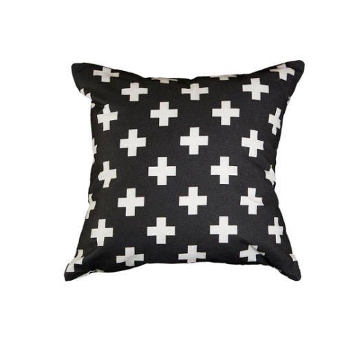 "Zana Products - Black and white 18"" Swiss cross pillow, $29"