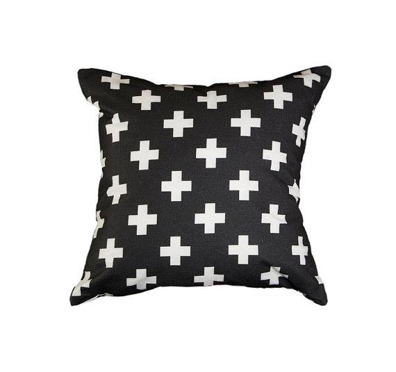 "Zana Products - Black and white 18"" Swiss cross pillow, $29"