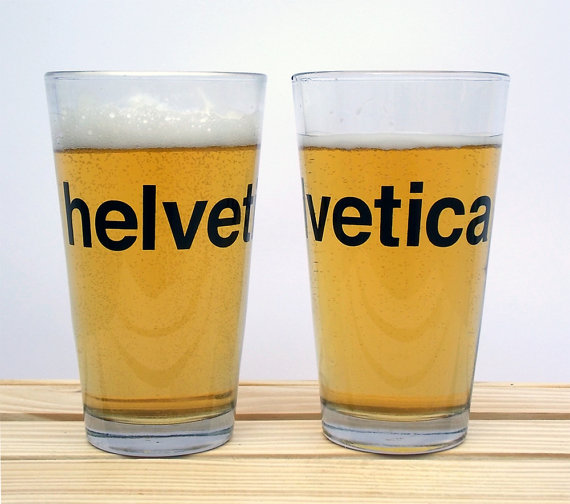 Crawlspace Studios - Set of 2 Helvetica Beer Glasses, $20