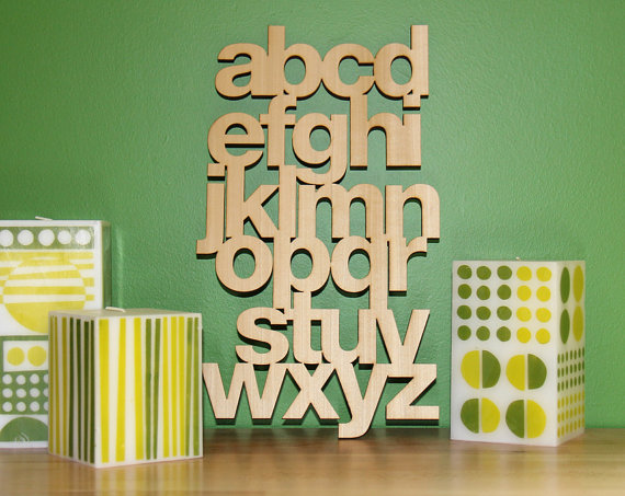 Mixed Mangos - Helvetica Lowercase in Poplar, $42
