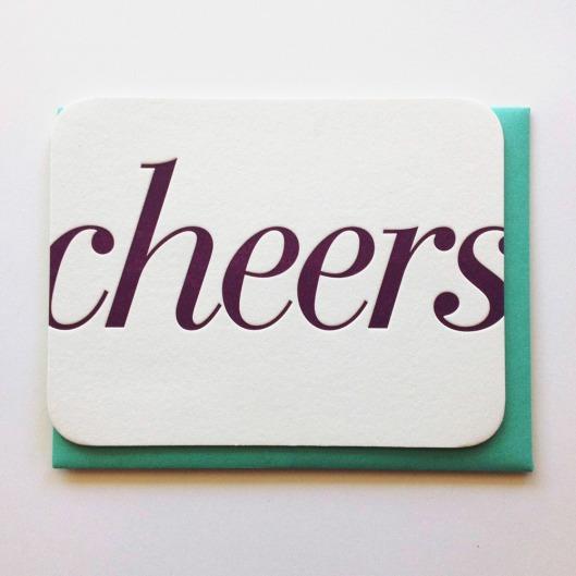 Cheers Letterpress Card, $6