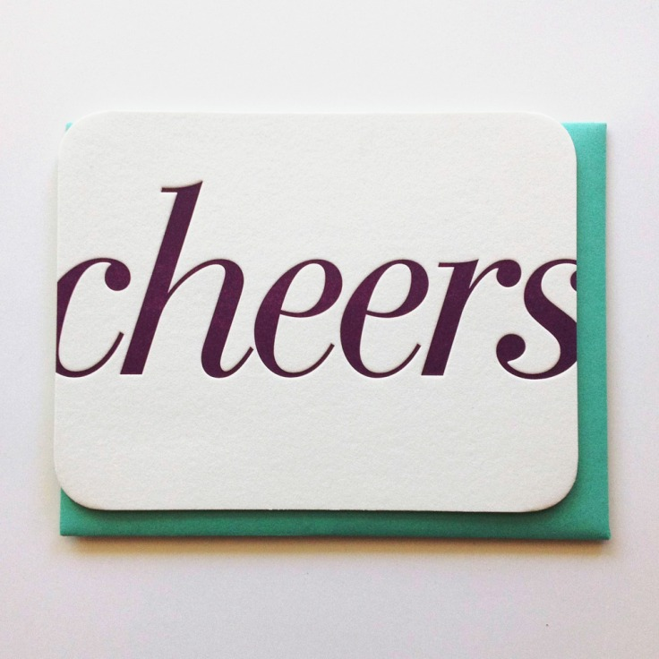 Cheers Letterpress Card, $6