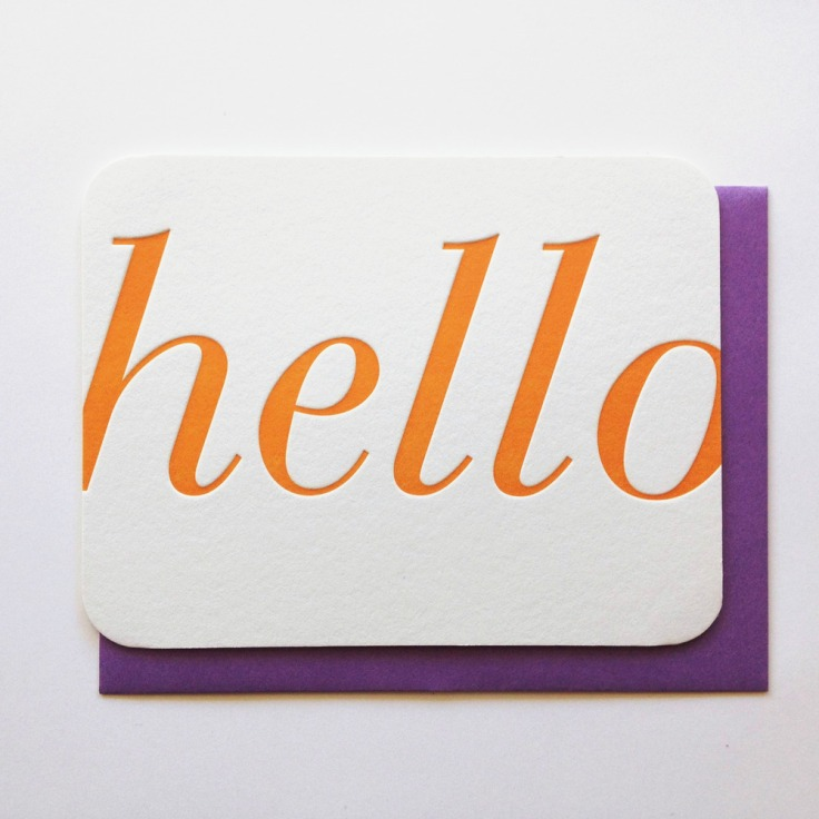 Hello Letterpress Card, $6