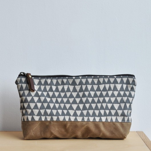Triangles Large Oblong Pouch, $35