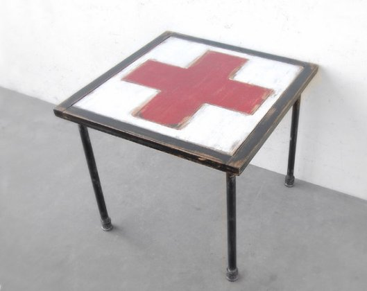 Old New Again - Swiss Cross Side Table, $275