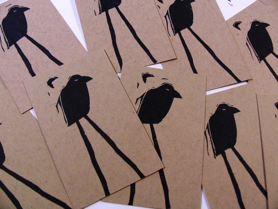 Crafty Hag - Murder of Crows hand printed set of 6 mini flat cards, $6