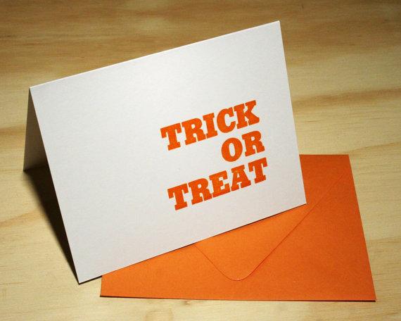 Green Bird Press - Trick or Treat Letterpress Card, $4.50