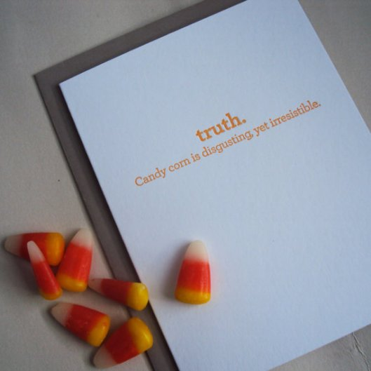Grey Moggie Press - Candy Corn Letterpress Card, $5