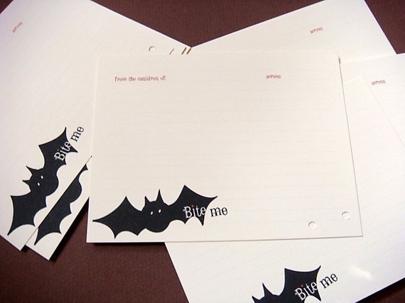 Terri Taylor Design - Just Batty Recipe Card Set of 12, $10