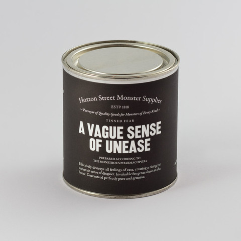 "A Vague Sense of Unease, £8.00. Effectively destroys all feelings of ease, creating a rising yet uncertain sense of disquiet. Invaluable for general uses in the home. Guaranteed perfectly pure and genuine. Contains boiled sweets and ""A Vague Sense of Unease"" by Laura Dockrill, a specially commissioned poem exclusive to Hoxton Street Monster Supplies and suitable for readers 7+."