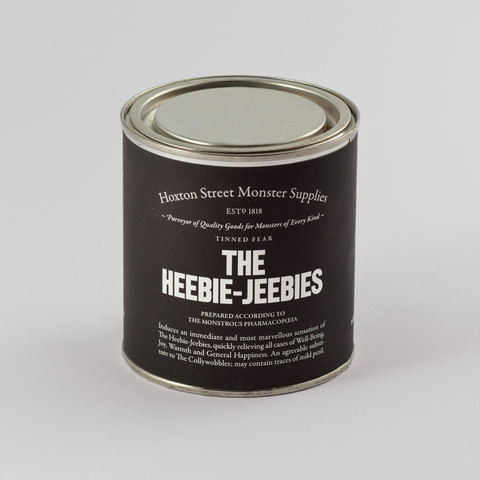 "The Heebie-Jeebies, £8.00. Induces an immediate, tangible and most marvellous sensation of the Heebie-Jeebies, quickly relieving all cases of Well-Being, Joy, Warmth and General Happiness. An agreeable substitute to the Collywobbles; may contain traces of mild peril. Contains boiled sweets and ""The Heebie-Jeebies"" by David Nicholls, a specially commissioned short story exclusive to Hoxton Street Monster Supplies."