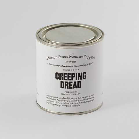 "Creeping Dread, £8.00. A perspicacious yet plausible remedy that prevents all sense of relaxation. Acts gently and promptly upon the Mind and Emotions. Likely to induce visions of Ghouls, Bogeymen, and things that go BUMP! in the night. Contains sweets and ""Creeping Dread"" by Charlie Higson, a specially commissioned short story suitable for ages 12+ and exclusive to Hoxton Street Monster Supplies."