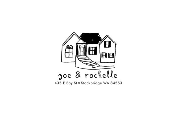 Custom Drawn House Address Rubber Stamp, $68