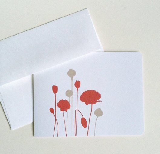 Modern Poppies Cards, set of 6, $16