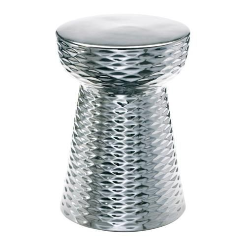 Textured Chrome Ceramic Stool - $299
