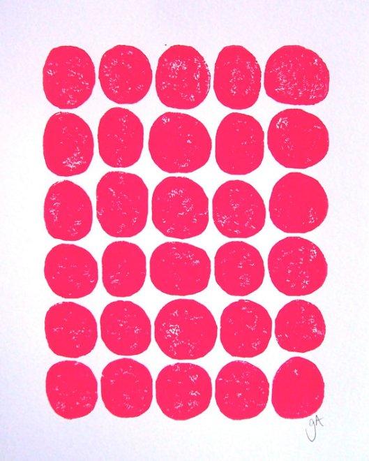 "8"" x 10"" 30 Dots Pink, $22"