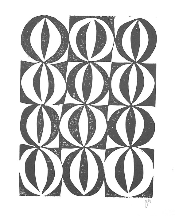 "8"" x 1-"" MidCentury Circles Print, $22"