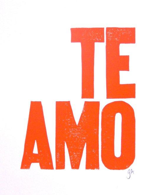 """8"""" x 10"""" Te Amo Print, $22"""