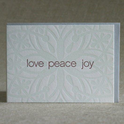 Sweet Letterpress - Love Peace Joy set of 25, $52