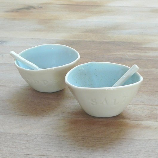 Porcelain Salt & Pepper Bowls and Spoons, £37.50