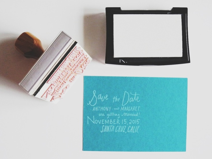 Custom Hand lettered Save The Date Stamp, $75-$120