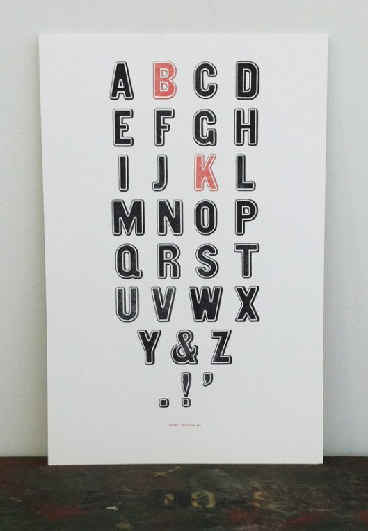 Brooklyn Type Letterpress Print, $35