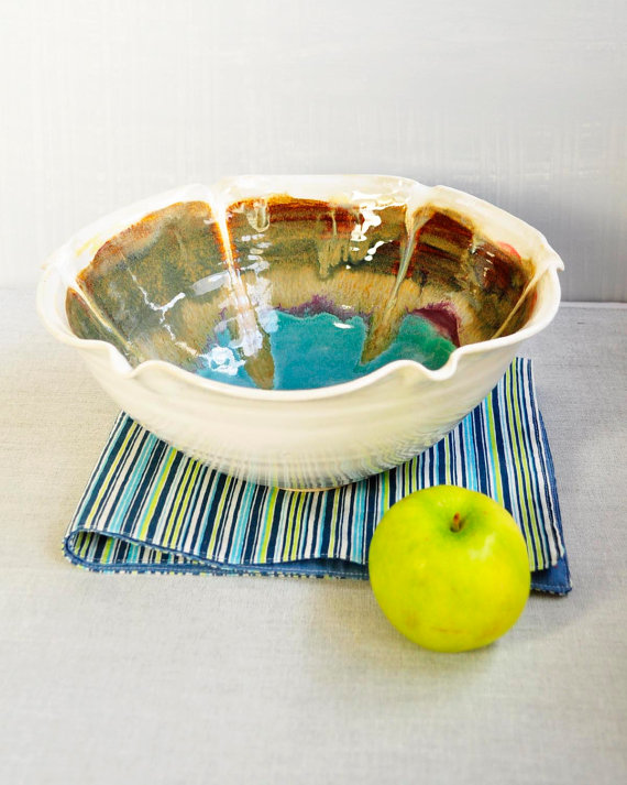 Ceramic Flower Bowl in Turquoise, $45