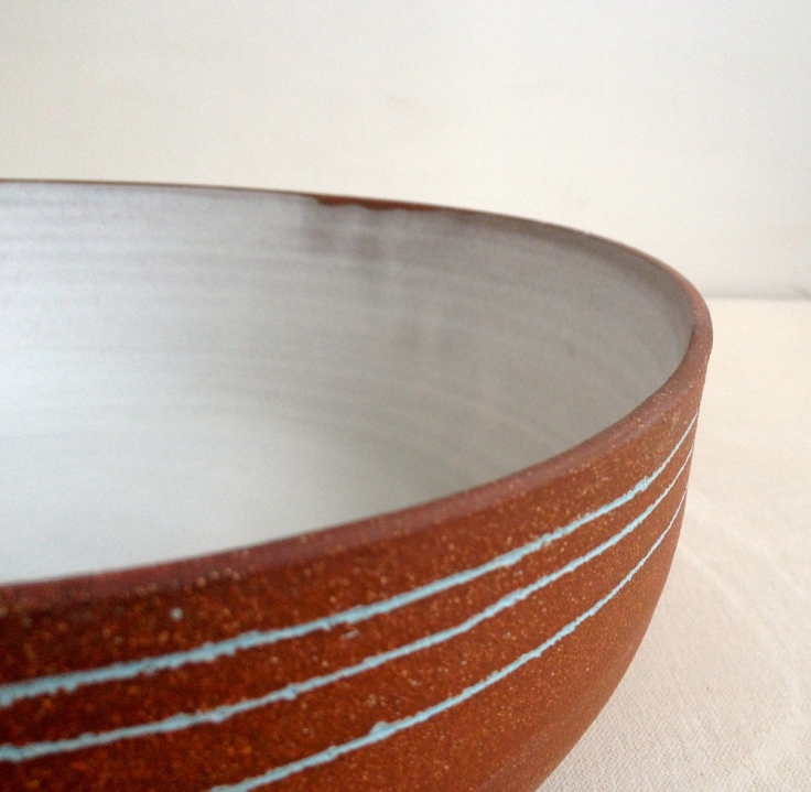 Three Blue Lines Stoneware Bowl, $210