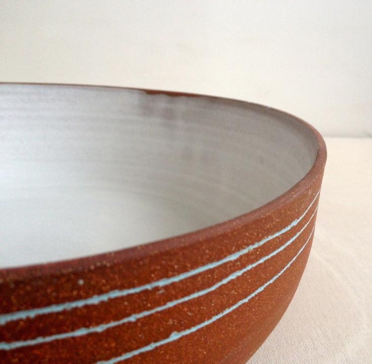 Three Blue Lines Stoneware Bowl, $210