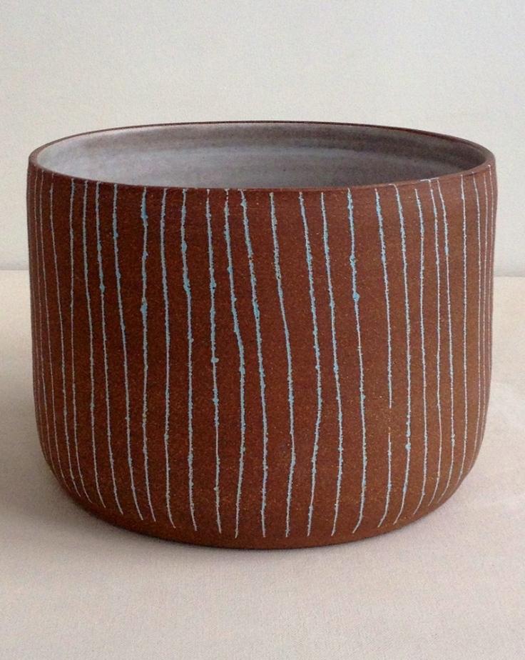Blue Pinstriped Bowl, $235