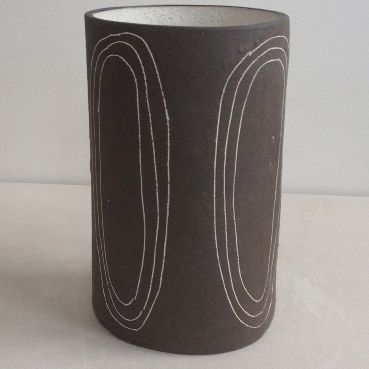 Brown Black Circles Stoneware Vase, $180