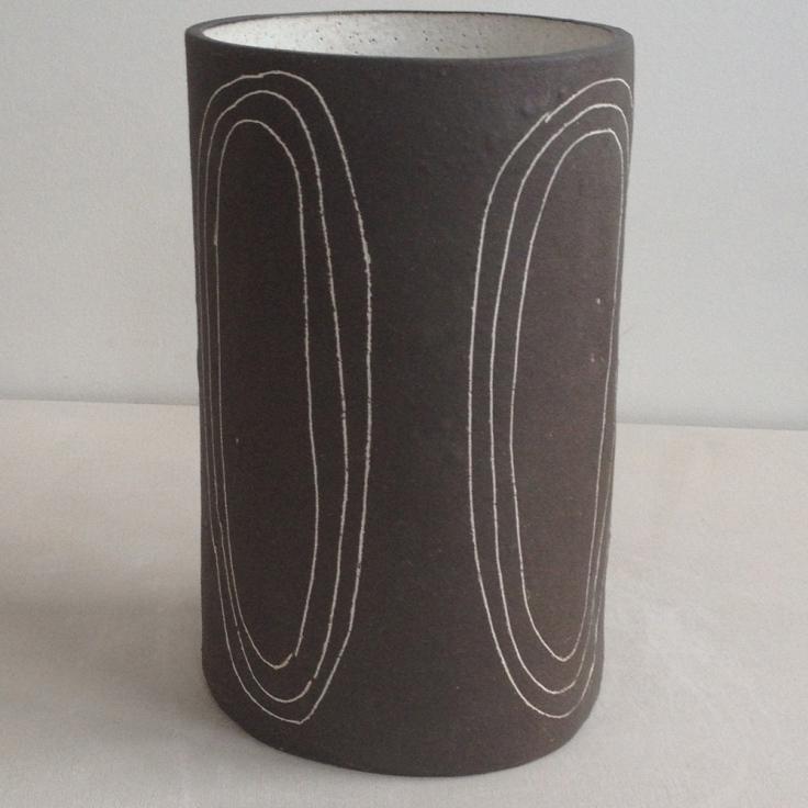 Brown Black Circles Stoneware Vase, $180