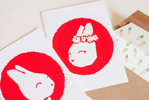 Hej Juni - Bunny Sweethearts Card set with carrot envelope, $9