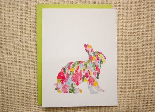 Me and Wee - Floral Bunny Card, $4