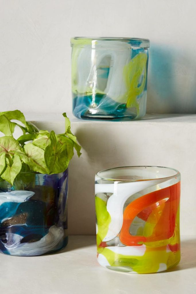 Anthropologie - Marbled Glass Garden Pots, $24