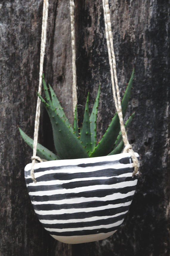 Half Light Honey Studio - BW Striped Planter, $34